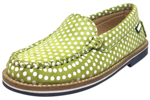 Fascani Girl's and Boy's Bright Olive Green Soft Suede Polka Dot Print Slip On Moccasin Loafer