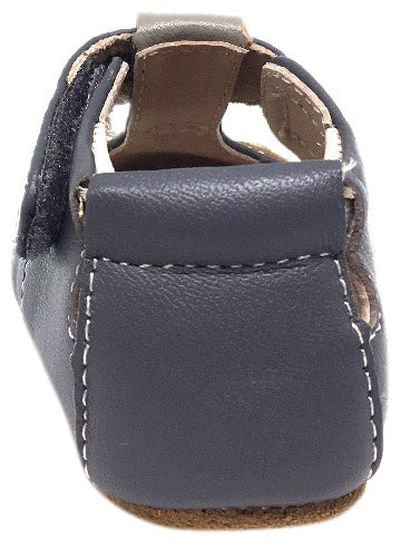Livie & Luca Girl's and Boy's Scamper Smooth Gray Leather Mouse Character T-Strap Shoe with Hook and Loop Closure