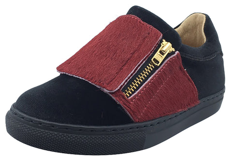 Fascani Boy's and Girl's Side Zip Slip-On Sneaker Shoes, Black Velvet/Red Pony Hair