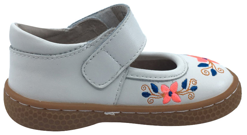 Livie & Luca Girl's Frida Bright White Leather with Floral Embroidery Mary Jane Flat Shoes