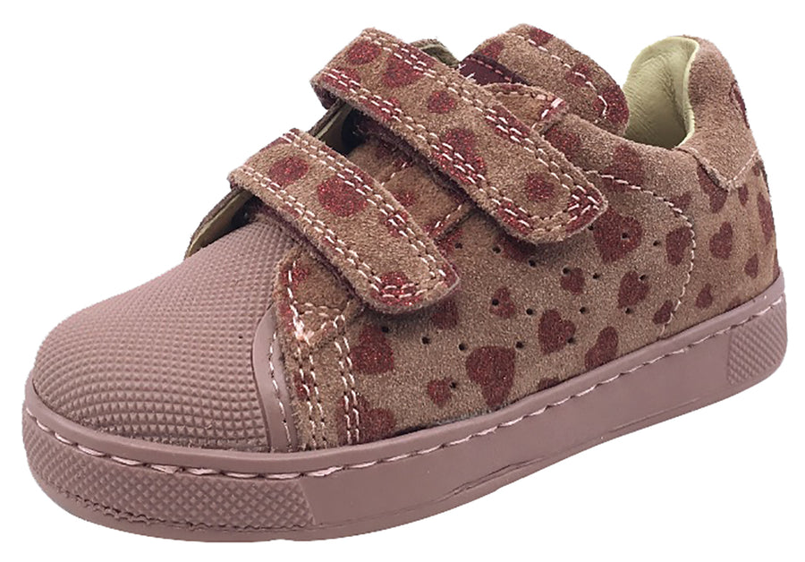 Naturino Kid's Bree Sneaker Tennis Shoes, Rosa Pink Heart Suede
