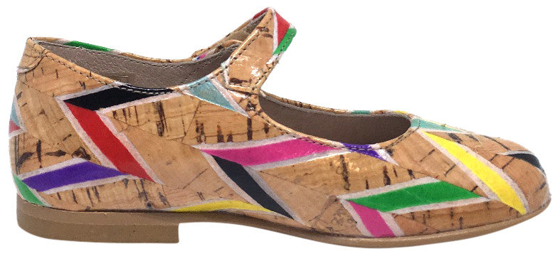 Hoo Shoes Hoova's Cork Rainbow Chevron Pattern Hook and Loop Button Mary Jane Flat Shoes