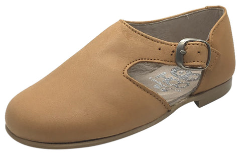 Hoo Shoes Girl's & Boy's Tan Smooth Leather Single Strap Buckle with Side Cut-Out Oxford Shoes