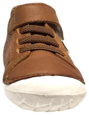 Old Soles Boy's and Girl's Pave Cheer Tan Leather High Top Elastic Hook and Loop Walker Baby Shoe Sneaker