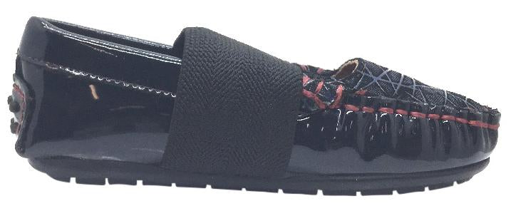 Venettini Girl's Lily Navy Patent with Denim Embossed Toe Elastic Strap Leather Moccasin Flat