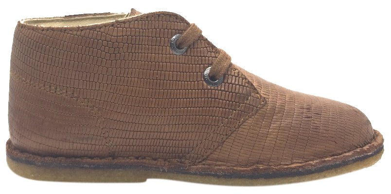 Naturino Boy's 9152 Tan Alligator Design Leather Lace Up Ankle Boot