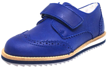 Hoo Shoes Boy's Ralph's Smooth Leather Hook and Loop Platform Tip Oxford Shoe