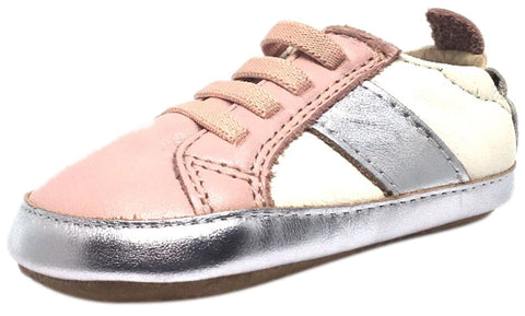 Old Soles Girl's Pink & Silver Leather Gig Shoe Stripe Elastic Lace Slip On Crib Walker Baby Shoe