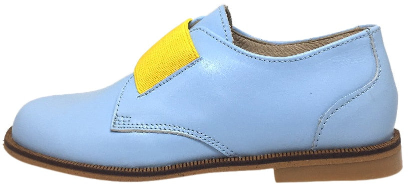 Luccini Girl's & Boy's Baby Blue Leather Thick Elastic Strap Slip On Oxford Loafers