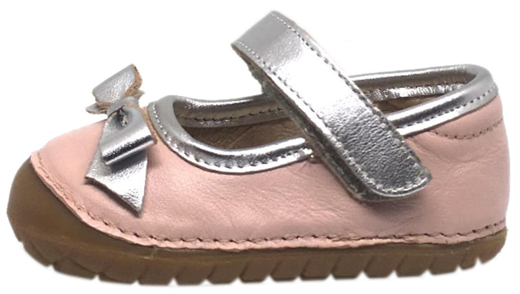 Old Soles Girl's Pave Gabs Jane Powder Pink & Silver Leather Hook and Loop Bow Mary Jane Walking Shoe