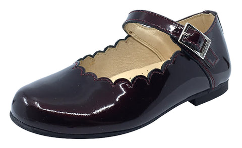 Andanines  Girl's Scalloped Mary Jane, Burgundy Patent