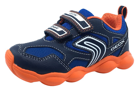 Geox Boy's Munfrey Leather Navy Orange Double Velcro Sneaker