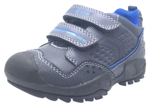 68a3c04fd7 Geox Boy's Savage Navy Royal Blue Leather Double Hook and Loop Sporty Sole Low  Top Sneaker
