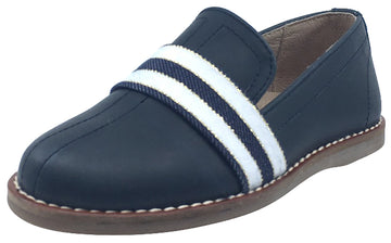 Hoo Shoes Boy's & Girl's Navy Blue White Band Leather Lined Slip-Ons