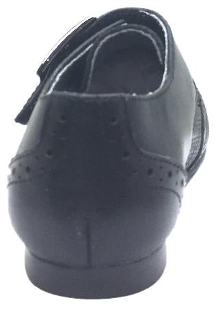 Venettini Boy's Marty Black Leather Basket Weave with Penguin Toe Single Hook and Loop Strap Oxford Loafer