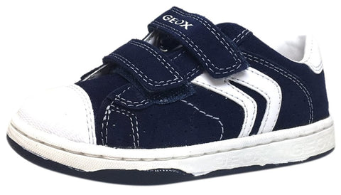 Geox Boy's Maltin Navy & White Double Hook and Loop Strap Sneaker Shoe