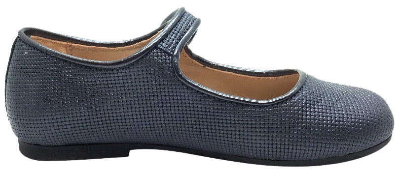 Manuela de Juan Girl's Diti Metallic Blue Textured Leather Classic Mary Jane Flats with Trim