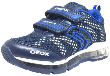 Geox Respira Boy's Android Navy & White Mesh Light Up Double Hook and Loop Sneaker