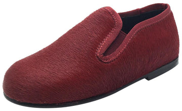 Luccini Boy's & Girl's Red Pony Hair Leather Lined Smoking Loafer Flats
