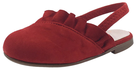 Papanatas by Eli Girl's Red Suede Elastic Cross Ruffle Slip On Sandal Mule Flats