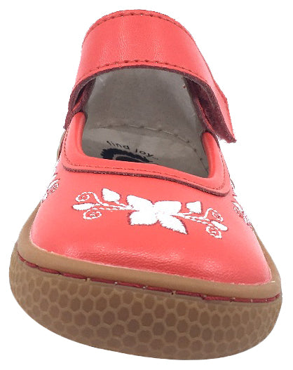 Livie & Luca Girl's Frida Bright Pink Leather with Floral Embroidery Mary Jane Flat Shoes