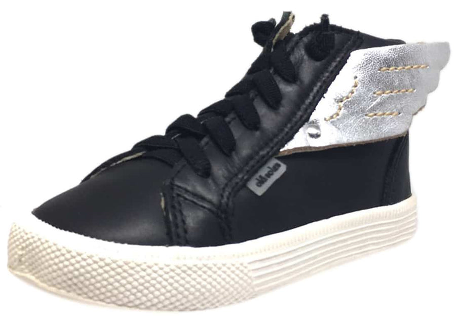 Old Soles Boy's and Girl's 1057 Black Silver Leather Urban Wings High Top Lace Up Sneaker Shoe