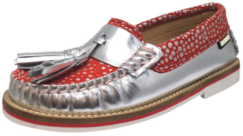 Fascani Girl's and Boy's Metallic Silver Leather Red Polka Dot Tassel Stitching Detail Slip On Loafer Moccasin