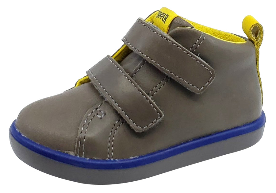 Camper Pursuit Grey Runner Leather Boy's Hightop Hook and Loop Toddler