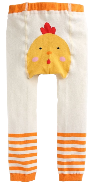 Eva & Elvin Girl's White Orange Tights Cotton Chicken