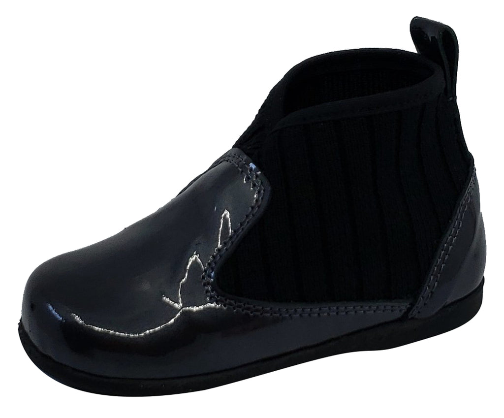 Luccini for Boy's and Girl's Charcoal Black Patent Kaffir Leather Sock Bootie