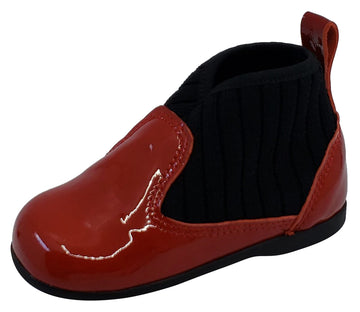 Luccini for Boy's and Girl's Red Patent Kaffir Devil Leather Sock Bootie