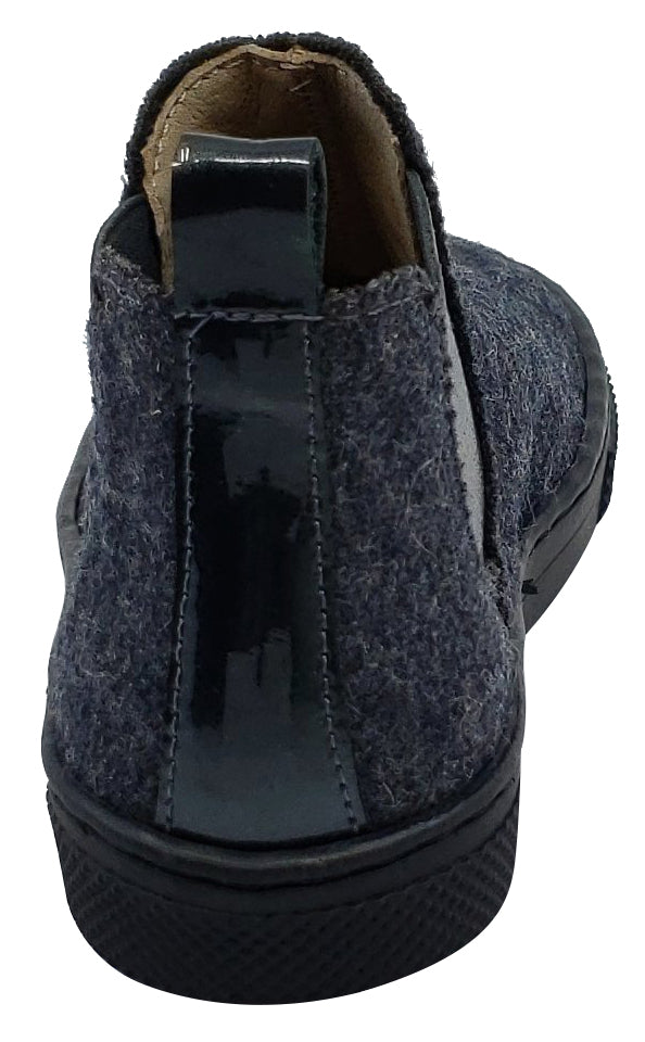 Maria Catalan for Boy's and Girl's Grey Flanel Silver Elastic Sides Patent Back Detail High-Top