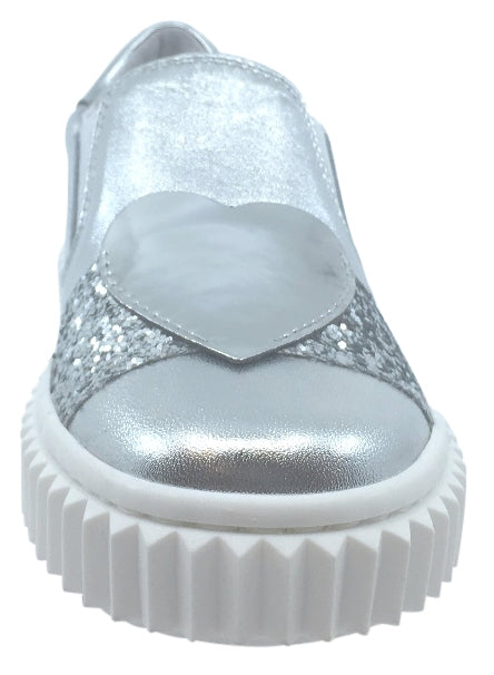 Naturino Girl's & Boy's Silver Metallic Leather with Glitter Decal Detail Slip On Low Top Casual Sneaker Shoe