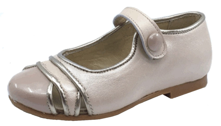 Luccini Girl's Cut Out Snap Mary Jane, Pearl