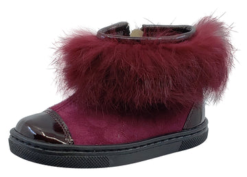 Pataletas for Boy's and Girl's Burgundy Leather Patent Suede Zipper Collar Fur Bootie