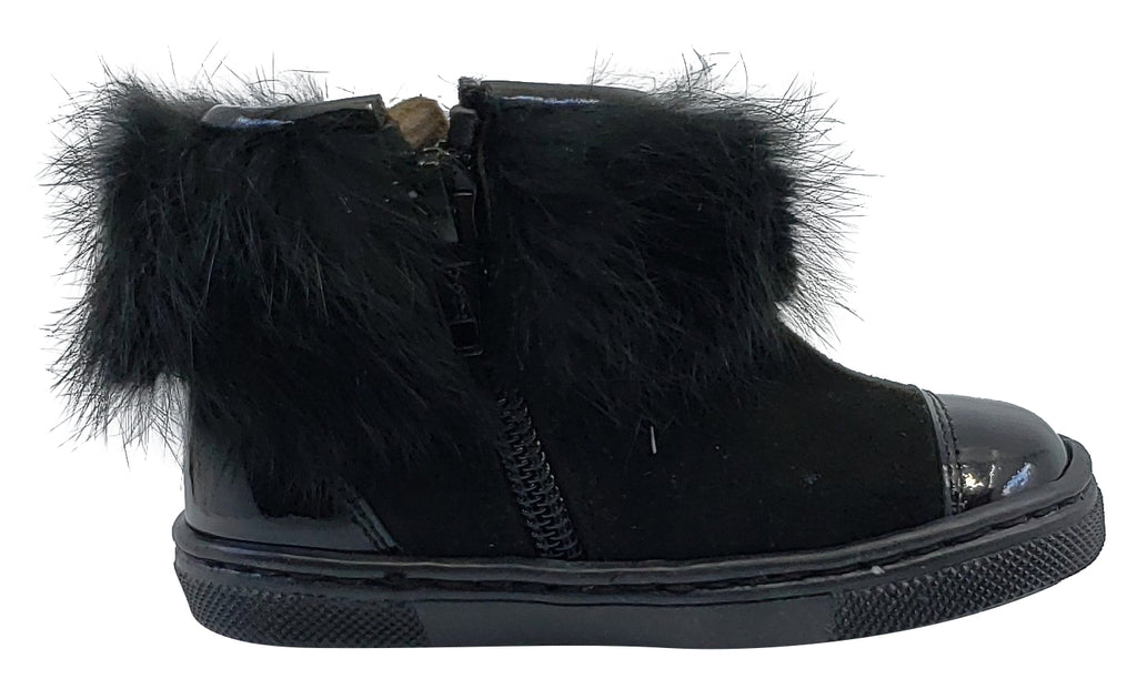 Pataletas for Boy's and Girl's Black Leather Patent Suede Zipper Collar Fur Bootie