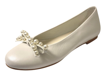 Oca-Loca Girl's Pearl Bow Leather Ballet Flat, Hielo (Egg Shell)