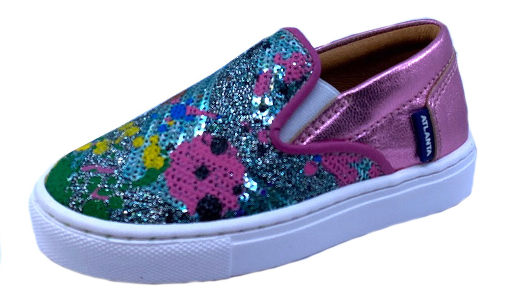 Atlanta Mocassin Girl's Splatter-Paint Slip-On Sneaker