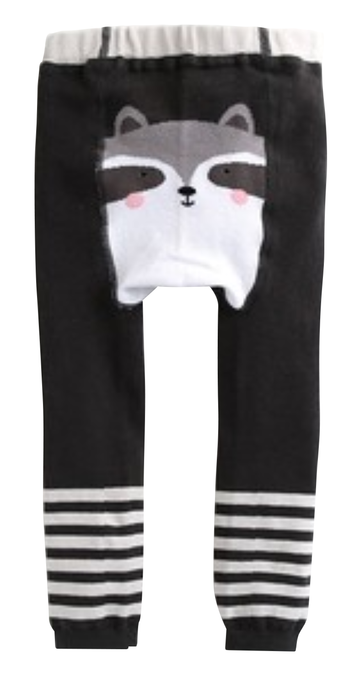 Eva & Elvin Girl's Black Tights Cotton Raccoon