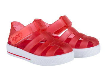 Igor S10171 Girl's Star Sandal - Transparent Rojo