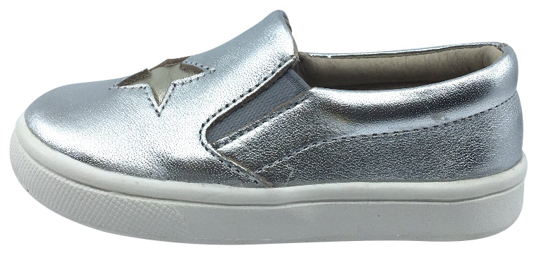 Old Soles Boy's and Girl's Silver Starey Hoff Leather Sneakers