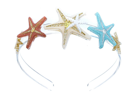 Lilies & Roses NY Girl's Starfish Headbands, Gold, Coral, Blue