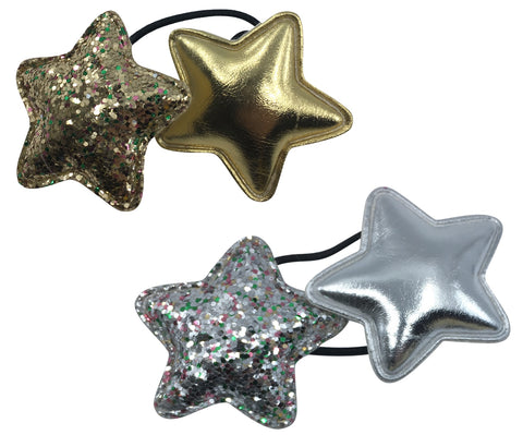 Bunk Punk Princess Set of 2 ponytail holders (One Gold Stars, One Silver Stars)