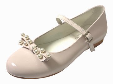 Oca-Loca Girl's Pearl Bow Patent Leather Mary Jane, Nude