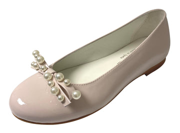 Oca-Loca Girl's Pearl Bow Patent Leather Ballet Flat, Nude