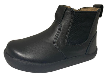 Old Soles Girl's & Boy's 5064 High Top Ankle Boot Sneaker - Black Leather