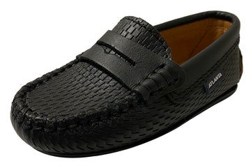 Atlanta Mocassin Boy's Penny Leather Loafers, Black Perforated