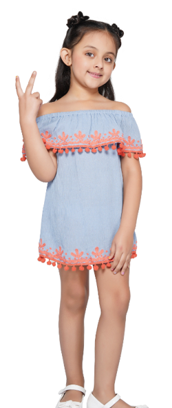 America & Beyond Periwinkle Orange Detail Tunic