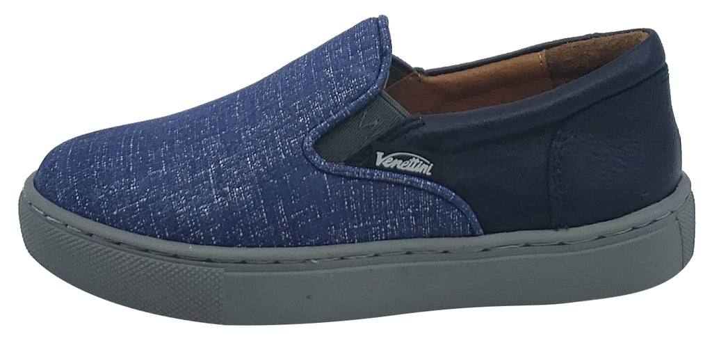 Venettini Girl's and Boy's Blue Denim Skylar Leather Slip-On Sneaker