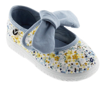 Victoria Girl's Floral Bow Mary Jane, Azul